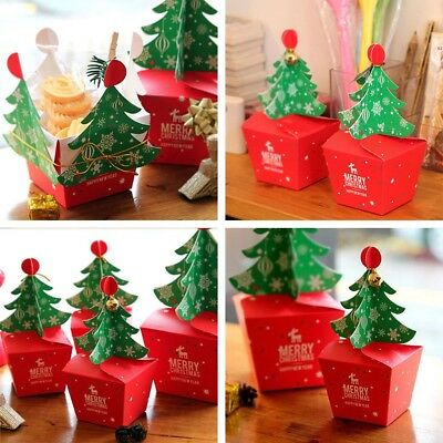 5Pcs Merry Christmas Tree Bell Party Paper Favour Gift Sweets Carrier Bags Boxes