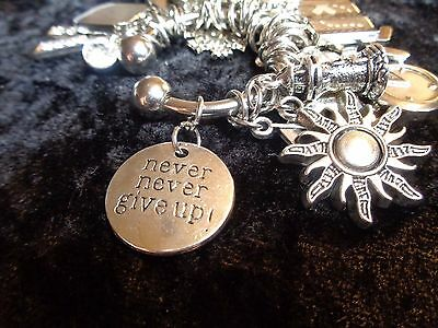 """""""Never never give up"""" - Motivation Charm for Weight Watchers Keychain."""