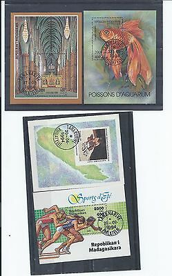 Madagascar stamps.4 minisheets from 1994 used (CTO)(Z030)