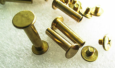 Chicago Screw Brass Plated 9mm Flat Head 15mm or20mm high belts, wallets, albums