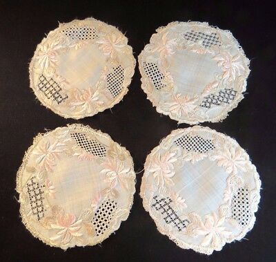 4 Antique Embroidered Doilies Cocktail Coasters Society Silk Hand Embroidery