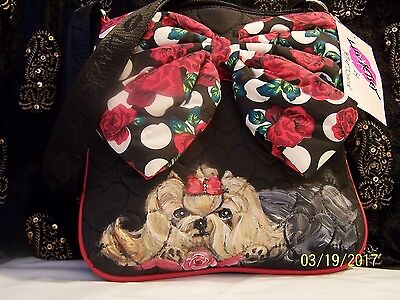 Luv Betsey  hand painted Yorkie quilted   bow crossbody bag