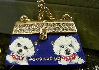 Bichon Frise hand painted  purse crystal key chain handbag charm