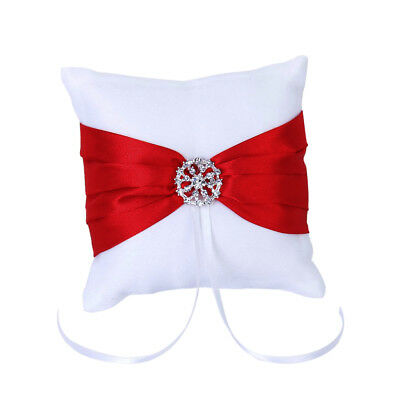 White Red Bowknot Wedding Party Pocket Ring Pillow Cushion 4'' x 4 L8H1