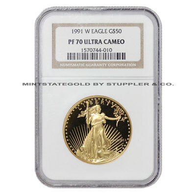 1991-W $50 Eagle NGC PF70UCAM American Gold Ultra Cameo Proof Bullion coin 1oz