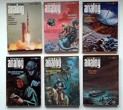 Analog Science Fiction 6 issues January/June 1970. Poul Anderson,Hal Clement