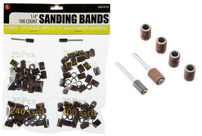 """480Pcs 1//4/"""" Sanding Bands Drums Sleeves Grits 5 Mandrel For Dremel Rotary Tools"""