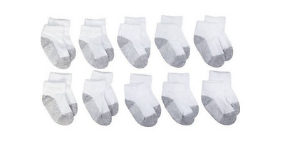 Garanimals Baby Boys/Girls Lowcut Ankle Socks (Grey Foot)10-Pack ~ ~ SELECT SIZE