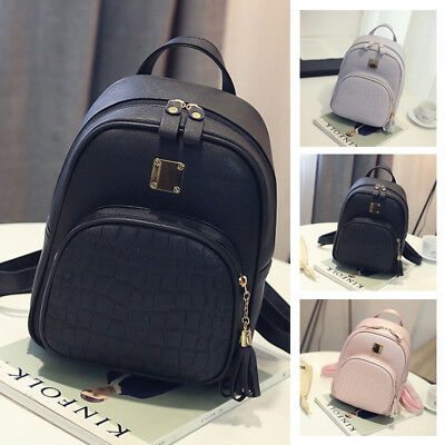 Girls Womens Fashion Leather Travel Shoulder Backpack School Rucksack Bags Gray