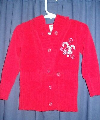 VTG Retro Red Xmas Sweater 2T Embroidered Candy Canes Hood Buttons BC101 Hoodie