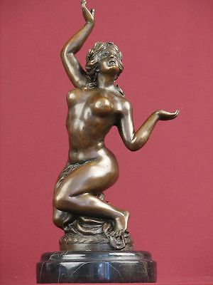Signed Bronze Handcrafted Sculpture Classic Nude Statue On Marble Base