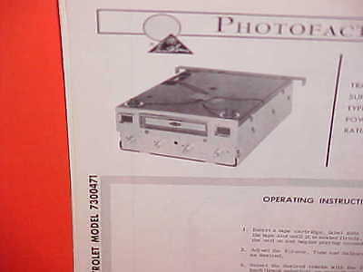 1967 Chevrolet Impala Ss Convertible Belair Caprice 8-Track Tape Service Manual