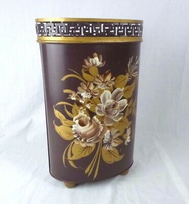 Vtg Plymouth Tole Hand Painted Waste Basket Trash Can Brown Gold Roses *shabby*
