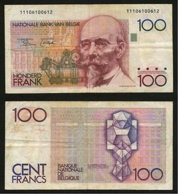 Currency 1981-1982 Belgium 100 Francs Colorful Banknote P142 Hendrik Beyaert VF