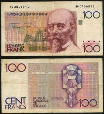 Currency 1987-81 Belgium 100 Francs Colorful Banknote P140 Hendrik Beyaert VF