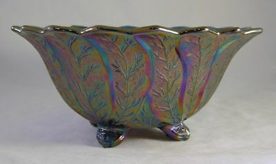 Carnival Glass Amethyst or Purple Footed Bowl Leaf Imperial Lenox