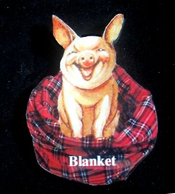 Pig in a Blanket Pin Handcrafted Gift Wearable Art Daughter Farm Animal Pun