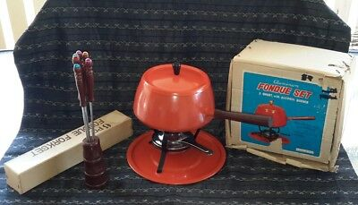 Retro Fondue Set with Forks