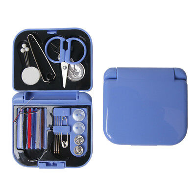 Travel Sewing Kit Thread Needles Mini Case Plastic Scissors Tape Pins Set.