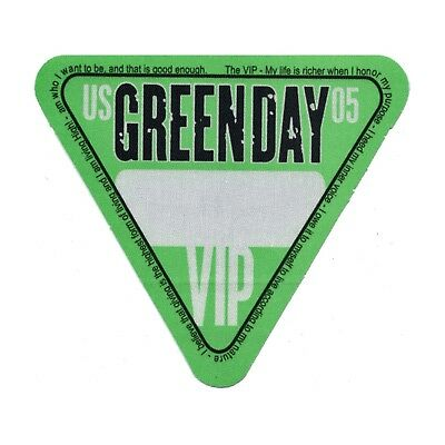 Green Day authentic 2005 American Idiot Tour Backstage Pass VIP version 2 green
