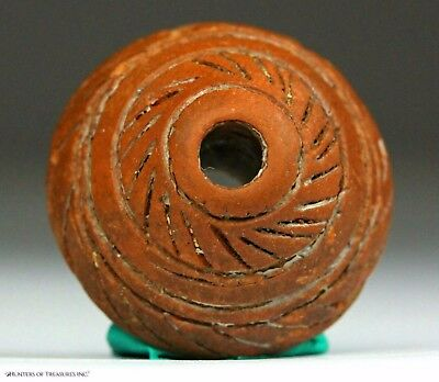 Ancient Pre Columbian Moche or Chimu Ceramic Spindle Whorl Whirling Log Bead