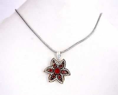 Silver Overlay Ancient Look Women Fashion Pendant with Red color