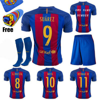 2017 New Soccer Football Kits Home Jersey Short Sleeve Kids Set Team Suit +Socks