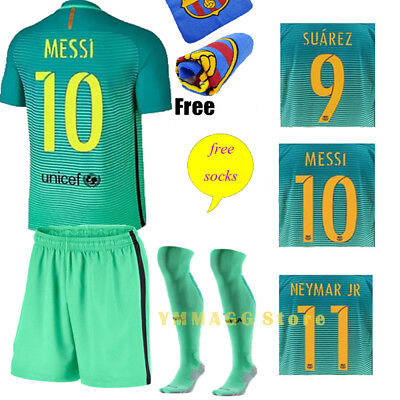2017 New Second Away Kit Green Football Jersey Short Sleeve Kids Team Suit+Socks