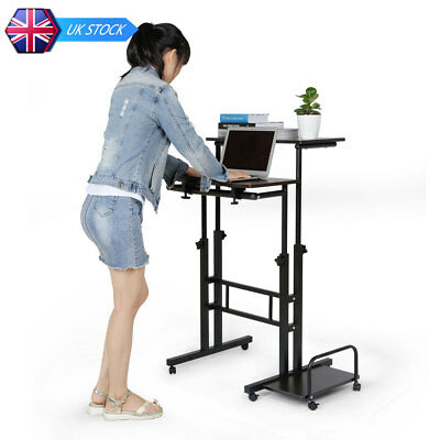 Height Adjustable Computer Desk Table Trolley with Keyboard Holder