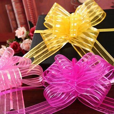 10x Organza Yarn Pull Bows Ribbons Wedding Party Flower Decor Gift Wraps Top