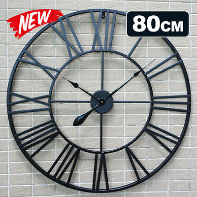 80cm Large Round Metal Wall Clock Industrial Vintage French Provincial Antique
