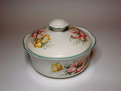 Vintage Ceramic Lidded Powder Bowl by St. Michael in the Pattern of Anemone