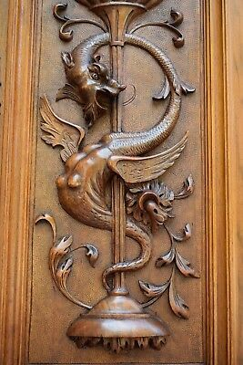 French Antique Exceptional Carved Neo-Gothic Griffin Wood Cabinet Door Panel n2