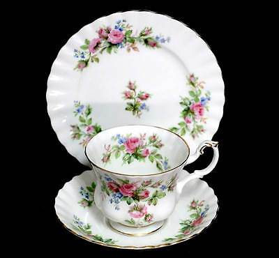 Vintage Royal Albert Moss Rose pretty teacup saucer plate trio set