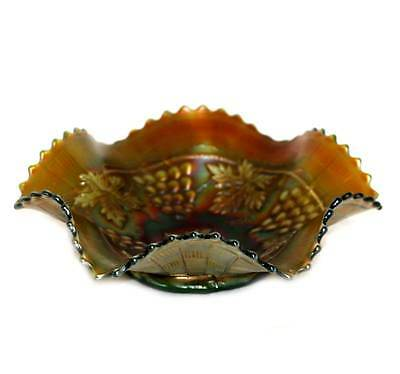 Vintage Northwood green carnival glass grape and cable vines ruffled edge bowl