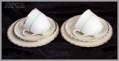 Vintage 1930s Grindley Cream Petal cream, gold & green set of 2 duos
