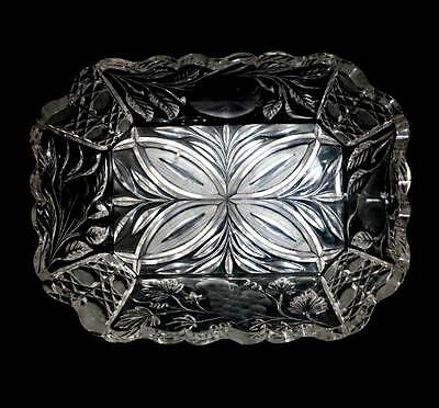 Vintage large sparkly cut crystal rectangular fruit bowl in great condition
