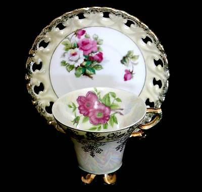Vintage stunningly pretty Japanese lustre pink rose teacup duo