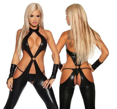 3-teiliger Wetlook Overall Gogo Tabel Dance Catsuit Lack Glanz Clubwear Outfit