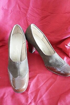 New Vtg Brown Suede Leather Naturalizer Shoes W Heel Wing Tip Pumps Canada