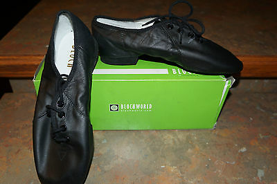 New Bloch Black Leather Split Sole Jazz Shoes Girls Youth 5