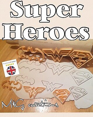 6pcs Super Hero Batman Superman Wonderwoman Cookie Cutter Sugarcraft Cake Decor