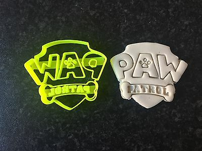 Paw Patrol Logo Cookie Fondant Cutter Cupcake Cake Decoration Gift Badge