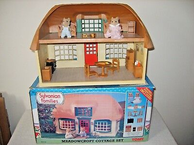 sylvanian families boxed and rare meadowcroft cottage,furniture,figures
