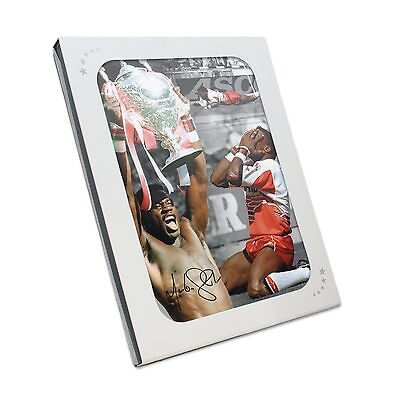 """Martin """"Chariots"""" Offiah Signed Rugby League Photograph In Gift Box"""