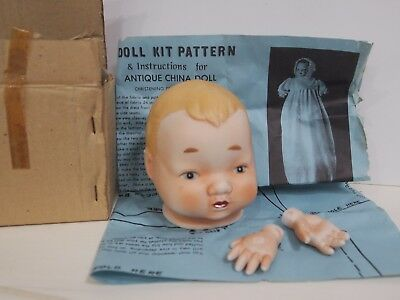 Antique Repro Doll Kit Head & Hands With Pattern In Box Made in Japan Hayes Spec
