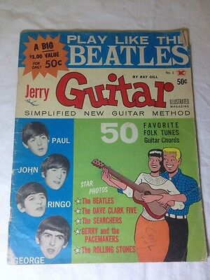 The Beatles 1964 Jerry Guitar Chords Magazine Vintage Music Sheet Illustrated