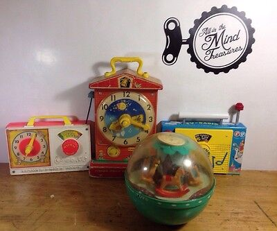 Fisher Price Music Box Lot of 4 Teaching Clock 1968-2009 Working