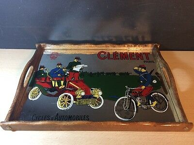 Clement Paris Cycles & Automobiles Glass Mirror Serving tray Wood Bombled