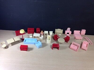 Lot of 29 Pieces of Marx Dollhouse Kitchen Piano Ping Pong table Red Blue
